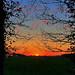 Sonnenuntergang im flachen Land