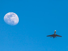 Fly me to the Moon.... (jmfuscophotos) Tags: aircraft astrophotography airplane moon