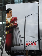 IMG_4458 (Brechtbug) Tags: shazam billboard 42nd street new captain marvel the big red cheese poster ad nyc 2019 times square movie billboards york city work working worker paint painting advertisement dc comic comics hero superhero alien dark knight bat adventure national periodicals publication book character near broadway shield s insignia blue forty second st fortysecond 03232019 lightning flight flying march