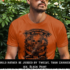I would rather be judged by twelve, than carried by six. Black Print. Gildan Ultra Cotton T-Shirt. Texas Orange.  | Loyal Nine Apparel (LoyalNineApparel) Tags: americanpride blackriflesmatter comeandtakeit conservative donttreadonme firearms freedom godblessamerica gun gunlove gunstagram igshooters instagood instaguns liberty livefreeordie loyalnineapparel loyalnineclothes menfashion menswear molonlabe nfa practice righttobeararms safetyfirst southern thepewpewlife threeper threepercenter