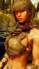 Ahlmah - Done For Today (DiamondbackVIII) Tags: elder scrolls v skyrim facepaint dark skin bodypaint iron bikini armor ahlmah grey eyes and hair