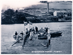 Fowey - Bodinnick Ferry (pepandtim) Tags: postcard old early nostalgia nostalgic bodinnick ferry fowey 34fbf96 bosdinek fortified dwelling cornwall fishing village river inn du maurier car boat