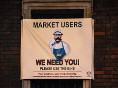 We need you! (Мaistora) Tags: street city urban sign shop retail market commerce advertising message promotion communication design colours textures letters typography signage attention attentiongrabbing cityoflondon squaremile london england britain uk leica dlux typ109 compact ps pocket lightroom edit process postprocess poster appeal reference echo mimic style cleanliness hygiene meat fresh raw produce smithfield trader traders butcher campaign retro vintage historic wartime replica creative