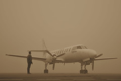 Inside the fog, you think better and thus you see better (solapi) Tags: fog sw4 fairchild flightline metroliner metroii lleida airport leda sa226 plane