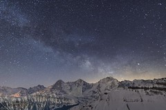 Milky way - Eiger Mönch and Jungfrau (Captures.ch) Tags: aufnahme capture alpen alps berge forest glacier gletscher hill himmel hügel landscape landschaft mountains sky tal valley wald switzerland bern berneroberland eiger jungfrau mönch isenfluh lobhörner swiss winter milchstrasse milkyway stars sterne nacht night klar clear