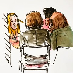 Croquis sur le vif.Grande discussion au café. (cecile_halbert) Tags: dessin croquis esquisse people group groupe drawing sketch face character portrait