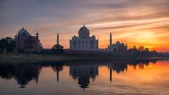Immortalised (...Kush...) Tags: sunrise sunset landscape photography architecture india incredibleindia agra mughal tajmahal majestic reflection river yamuna marble colour explosionofcolours