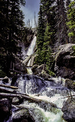 Ouzel Falls - A Different View (woodchuckiam) Tags: ousel fallswild basinrocky mountain national parkcoloradoskyburned trees rocks waterfall falls water cliffs logs scenic landscape kodachrome woodchuckiam