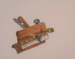 Shoulder Plane (ianulimac) Tags: watercolor drawing draw paint doodle scribble art ianmacdonald crookedpinkiesart old tools shoulderplane blockplane lubrigun drill oldtimey