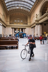 Union Station at Downtown Chicago (FotolimboMag) Tags: america athlete bicycle bicyclist bike central chicago city columns cycler cycling cyclist downtown hall helmet hobby iconic illinois inside interior leisure loop male man marble northamerica railway rider sport sportsman staircases theuntouchables train transport transportation travelers unionstation unitedstates us usa young