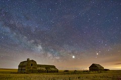 Milky Way over Barns Counting Stars (John Andersen (JPAndersen images)) Tags: abandoned airglow alberta aurora borderfx canon cluny cold constellations farm night pond sky spring stars