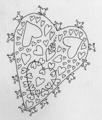 Fractal Heart (Daniel Ari Friedman) Tags: daniel ari friedman black ink pen paper draw drawing creative illustration image figure science art philosophy artistic geometry topology mathematics cartoon freehand freedraw craft