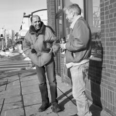 untitled (kaumpphoto) Tags: rolleiflex tlr 120 ilford bw black white street urban city men smile sidewalk laugh minneapolis winter coat talk conversation chat