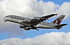 Qatar A380 (Infinity & Beyond Photography: Kev Cook) Tags: qatar airways airbus a380 aircraft airplane airliner london heathrow airport lhr photos planes a7apc