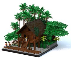 Scientific Lodgings, Camp Isaac (Ayrlego) Tags: brethrenofthebrickseas bobs lego legodigitaldesigner ldd campisaac logcabin