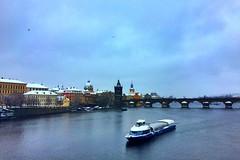Prague | Czech Republic (maryduniants) Tags: cityscape blue boat winter europe czechrepublic praga praha prag prague bridge charlesbridge river vltava
