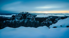 Cold winter light (derliebewolf) Tags: jahreszeiten natur winter geotagged sunset longexposure snowy snow freshsnow bluehour clouds hiking winterhiking nature landscape ndfilter hss