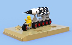Febrovery 2019 11 (David Roberts 01341) Tags: lego ldd bluerender classicspace spaceman rocketlauncher tricycle missile blackwhite