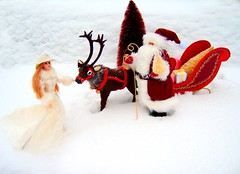 Father Christmas #1 (Bridget_John316) Tags: winter ride barbie mackie father christmas santa claus reindeer sled presents narnia