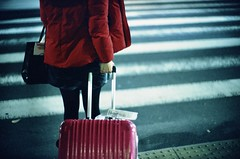 Gotta travel (jaxting) Tags: crosswalk jaxting 日本 japan travel red suitcase candid street people 東京 tokyo fujifilm provia400x e58 noctilux leica