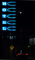 hotel (Kelson Corrales) Tags: olympus kelson night downtown tucson jacome plaza christmaslights blue neon sign