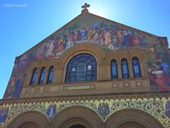 Facade of Stanford University Chapel (marylea) Tags: mural mosaic california facade architecture paloalto 2019 mar13 stanforduniversitychapel iphone