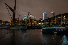 In the shadows of the city....... (A A A A Dafydd Penguin) Tags: city retreat marina canal thames barge boat ship vessel sea water waterside quayside dock lock urban skyscraper building lights after dark night shots colour high iso 6400 cityscape light leica m10 35mm summicron f2 limehouse basin london east end e14 crusing association