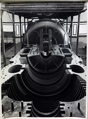 View looking into low pressure Stator showing steam entrance from high pressure end. (Public Record Office Victoria) Tags: railways train electrification blackandwhite archives victoria steam machinery work 1919