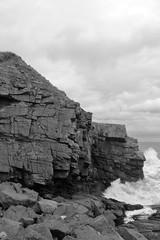 Cliffs,Collieston_Mar 19_525 (Alan Longmuir.) Tags: monochrome grampian aberdeenshire collieston cliffs