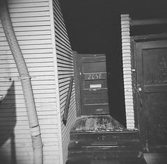 Side Entrance (Timothy Lewis Jr.) Tags: holgaphotos holgan holga120n kodaktrix trix trixpushed2stops trix120 redfilter building berkeley bw blackandwhitefilm blackandwhite
