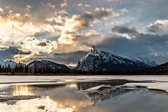 Sunrise @ Mount Rundle (deirdre.lyttle) Tags: alberta banff banffnationalpark canada sunrise vermillionlakes clouds reflections snow water canadianrockies trees winter