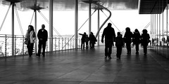 People come and go (Rabican-BUSY) Tags: athens greece snfcc stavrosniarchos seaside people shadows streetphotography monochrome blackandwhite bw human home happybirthday drosi silhouette kids walkers sunny modern architecture stavrosniarchosfoundation