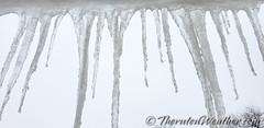 March 3, 2019 - Icicles dangle from a gutter. (ThorntonWeather.com(