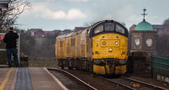 Colas Railfreight Class 37 no 37175 at Mansfield on 18-03-2019 with a Derby bound test train from High Marnham. (kevaruka) Tags: class 37 syphon growler 37402 37425 drs direct rail services nuclear waste cnd british network english electric mansfield nottinghamshire winter 2019 march kevin frost gloom dull dreary day rain rainy railway railfreight trains train clouds cloudy cold flickr front page thephotographyblog telephoto canon eos 5d mk3 ef100400 f4556l 5d3 5diii colour colours color colors blue yellow outdoor railroad locomotive tree sky people photoadd boobs milf sexy wife 37175 colas
