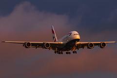 British Airways G-XLEL at London Heathrow (Connor Owen Skidmore`s Photography) Tags: ba british airways gxlel airbus a380800 a380 london heathrow landing sunrise canon 5d iv 09l 300mm