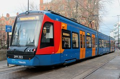 Stagecoach Supertram: 203 Class 399: 399 203 Cathedral (emdjt42) Tags: class399 sheffield stagecoach supertram 399203 vossloh