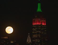 The Full Wolf Moon rises next to the Empire State Building on Jan. 21, 2019. (apardavila) Tags: esb empirestatebuilding fullwolfmoon hoboken manhattan martinlutherkingjrday nyc newyorkcity fullmoon moon moonphoto moonphotography moonrise night nightphoto nightphotography skyline skyscraper