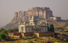 Mehrangharh Fort and Jaswant Thada (phuong.sg@gmail.com) Tags: ancient asia asian attraction brick brown castle cemetery culture dramatic emperor exotic famous fort fortress heritage hill hindu india indian jodhpur landmark landscape maharaja maharajah marble mausoleum mountain mughal old orient oriental overlook palace panoramic rajastan rajasthan sky tomb tourist unesco view