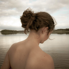 Hesitation before a bath at Mem, S:t Anna archipelago (AESTRACT) Tags: girl bath hair evening summer sea ocean coast st anna water back