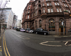 Manchester Taxi (amsterdameric) Tags: manchester taxi fisheye olympus 8mm pro travelengland