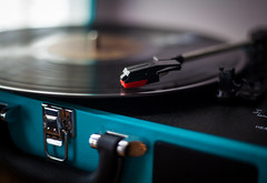 Record (smickstudios) Tags: record player blue album motion photographer photography needle red sunny