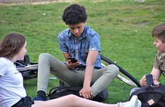 IMG_0473 (Skinny Guy Lover) Tags: outdoor people candid guy man male dude denimjacket grass field sitting sit seated group youth