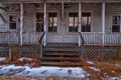 Cold Home (SunnyDazzled) Tags: rural decay abandoned empty farmhouse porch sunset windows cold winter snow ice steps front door reflection sad newjersey delawarewatergap national recreationarea longexposure house building wooden siding peelingpaint weathered