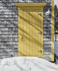 Front Door... - Tenants Harbor Maine (Jonmikel & Kat-YSNP) Tags: maine farmhouse door wood yellow snow winter