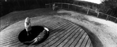 Holed Up (selyfriday) Tags: selyfriday wwwnassiocomempty nassiocom horizon202 horizon 202 film analogue 35mm swinglens swinger rodinal 125 7minutes 20˙c kodaktmax400 400iso nederland netherlands holland dutch schoorl duinen dunes woods kids