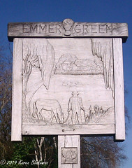February 14th, 2019 Emmer Green village sign (karenblakeman) Tags: emmergreen reading berkshire uk sign villagesign bbcmonitoring carving wood 2019 2019pad february