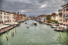 Canal Grande (Jan Kranendonk) Tags: boats ferry vaporetto bollards poles restaurants cafe cafeteria canal grande venice italy italian europe european water architecture buildings mansions palazzo people sky clouds cloudy quay waterfront river historical hdr