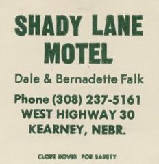 Shady Lane Motel - Kearney, Nebraska (The Cardboard America Archives) Tags: nebraska vintage motel hotel matchbook matchcover
