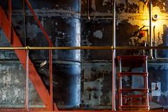 Red steps (trochford) Tags: red stairway ladder black silver metal tank light bulb peeling paint allis engine pump retro vintage industrial aesthetic metropolitanwaterworks metropolitanwaterworksmuseum chestnuthill boston bostonma bostonmassachusetts massachusetts newengland us usa canon canon6d ef24105mmf4lisusm ef24105