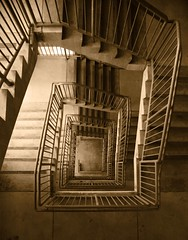 Stairway (The Vintage Lens) Tags: sepia stars stairwell lines form